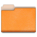 Folder, Leather, Orange Coral icon