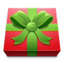 red, gift, square, present Black icon