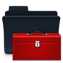 badged, Toolbox, Folder DarkRed icon