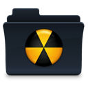 Folder, Burn, badged Black icon