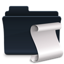 script, Folder, badged Black icon