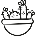 Desert, pot, Cactus, plant, nature, dry Black icon