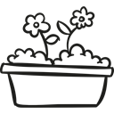 nature, gardening, flowers, pot, garden, Flower Petals Black icon