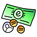 Cash, Currency, coin, Money Black icon
