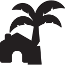 buildings, Palm Tree, summer, houses, Home, Homes, Summertime Black icon
