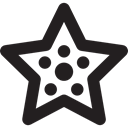 Stars, points, dots, Sea Life, star, Star Shape, Animals Black icon