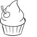 Bakery, Dessert, sweet, cherries, food, baker, Cupcakes Black icon