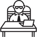 Computer, Businessman, people, Chair, table, Business, Tie Black icon