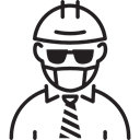 Boss, worker, Tie, people, Working, Construction, sunglasses Black icon