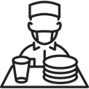 worker, Plates, waiter, tray, people, glass Black icon