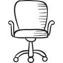 Office Material, Seat, studying, Chairs, buildings, wheels Black icon