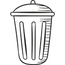 recycle bin, metallic, Garbage Bin, trash can, trash bin Black icon