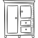 bedroom, clothing, room, storage, Drawer Black icon