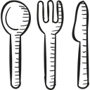 Fork, Restaurant, spoon, Knife, Kitchen Pack Black icon