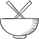 oriental, Chinese Food, Asian, Bowls, food, chopsticks Black icon