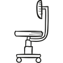 Office Material, wheels, buildings, Chairs, Seat, furniture Black icon