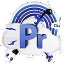 Cs, adobe, cs4, Pr Black icon