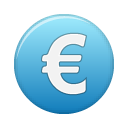 Blue, Cash, Euro, Money, coin, Currency SteelBlue icon