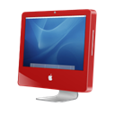 Aqua, red, Imac Black icon