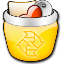 recycle bin, Gnome, Trash, Full Gold icon