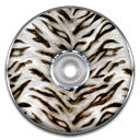White, Animal, save, Disk, Tiger, disc Black icon