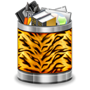 Trash, Animal, Tiger, Full, recycle bin Black icon