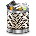 Trash, White, Animal, Tiger, recycle bin, Full Black icon