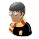Harrypotter, harry potter, Cartoon Black icon