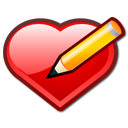 write, keditbookmarks, Draw, writing, Pen, valentine, bookmark, paint, pencil, love, Edit, Heart Black icon