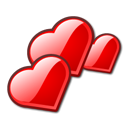 Hearts, love, valentine, Amor Red icon