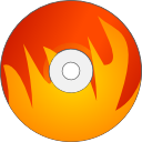 fire, Disk, Cdwriter, save, unmount, disc, Burn OrangeRed icon