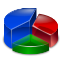 pie, graph, segment, chart, Kchart, segmentation MediumBlue icon