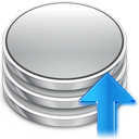 upload, rise, comit, db, Up, increase, commit, Ascend, Ascending, Database, Arrow Silver icon