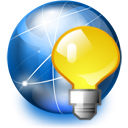 serv, serv on, Light bulb, network, internet, jabber RoyalBlue icon