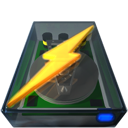 save, Disk, Kdisknav, disc, power, lightning DarkSlateGray icon