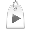 play, Label, docked, juk Black icon