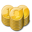 Stacks, gold, coin Goldenrod icon