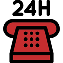 24 Hours, Service, customer service, telephone, technology Black icon