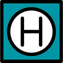 square, Hostel, Hotel Sign, hospital, signs DarkCyan icon