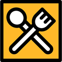Tools And Utensils, Knife, Restaurant, Fork, Cutlery Goldenrod icon
