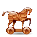 trojan, hot Black icon
