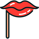lips, party, people, Body Part, love, romantic, carnival, kiss, Costume Black icon