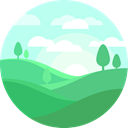 nature, trees, landscape, hills, Sunny, mountain MediumSeaGreen icon