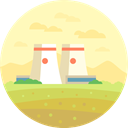 nuclear, Chimney, Cooling Tower, buildings, Nuclear Plant, landscape, nature LemonChiffon icon
