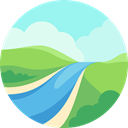 landscape, river, nature PaleTurquoise icon