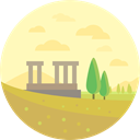 buildings, outline, columns, Architecture, landscape, Antique, Ruins, Monumental LemonChiffon icon