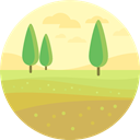 Country, Farm, house, Fields, hills, rural, nature DarkKhaki icon
