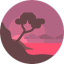 landscape, sea, Cape, ocean, nature PaleVioletRed icon