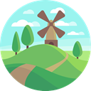 ecology, Windmill, mill, buildings, nature, Ecological PaleTurquoise icon