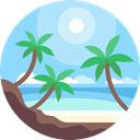 Island, nature, landscape, Beach, sun LightSkyBlue icon